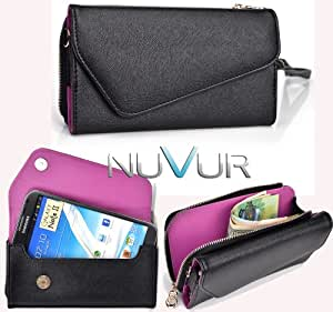 (URBAN) Phone Holder Wristlet Wallet Clutch Cover Case Black - Purple Interior May Fit LG Optimus G Pro + NuVur &153; Keychain |ESXLUBU1|