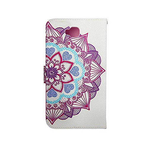 LG D680 Case, LG D680 Wallet CASE - Holy Mandala Purple Floral Pattern Premium PU Leather Wallet Case Stand Cover with Card Slots Cash Compartment for LG G Pro Lite D680 D682 D684 Dual D686 + CoolGiftCase Stylus