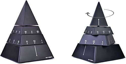 Time Pyramid Desk Clock Moving Sculpture Timepiece 6 inches – Black