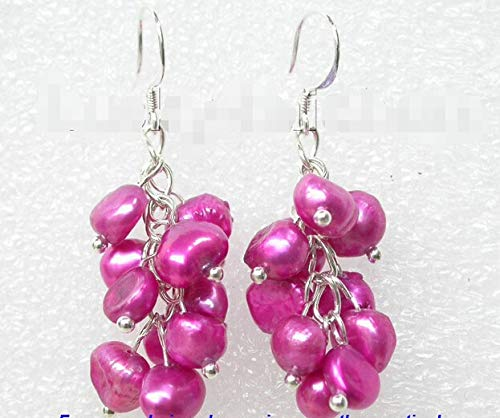 Grape Baroque Aubergine Pearls Earrings 925ss 100% Picture