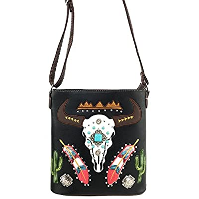 Justin West Native Longhorn Cow Skull Cactus Feather Color Conceal Carry Shoulder Handbag Purse | Trifold Wallet