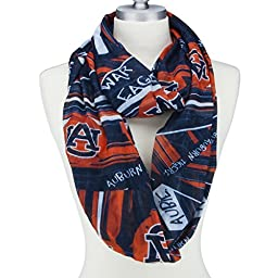 Auburn Tigers Lightweight Infinity Scarf Emblazoned with Geometric Designs, Auburn Logos and Colors