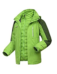 Dnstar Women's 3 in 1 Ski Jacket Down Waterproof winter Coat Work Plus Size