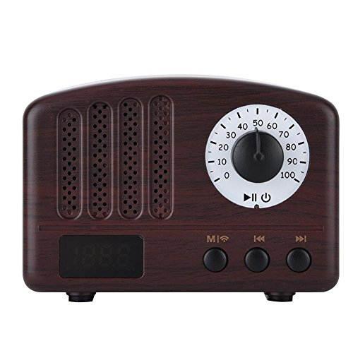 Altavoz Bluetooth Mini Altavoz Portátil Retro Vintage Subwoofer Inalámbrico Radio FM Estéreo Bajo con Micrófono(Grano)