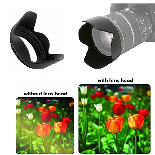 Pentax Sigma Olympus 67mm Tulip Flower Lens Hood Sony Panasonic MicroFiber Cleaning Cloth Nikon 67mm Soft Rubber Lens Hood for Select Canon Tamron SLR Lenses Digital Cameras and Camcorders