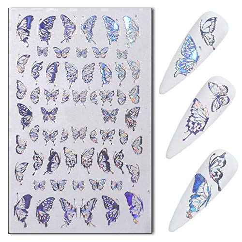 Flyouthe Butterfly Nail Art Stickers Decals 3D Luxury Laser Gold and Silver Color Nail Art Adhesive Decorations Glitter Nail Manicure Tips for Women Girl Valentine's Day 8 Sheets