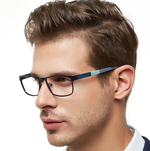 OCCI CHIARI Eyewear Frame Men Metal Optical Eyeglasses with Clear Lenses(Blue, 52)