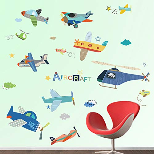 decalmile Aircrafts Wall Decals Boys Kids Room Wall Decor Removable Airplane Wall Stickers for Baby Nursery Childrens Bedroom Playroom ()