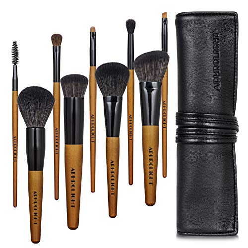 Professional Makeup Brush Set with Case Vegan Cruelty Free Soft Synthetic Bristles for Foundation Blending Face Powder Blush Contour Eyeshadow, Travel Leather Clutch ()