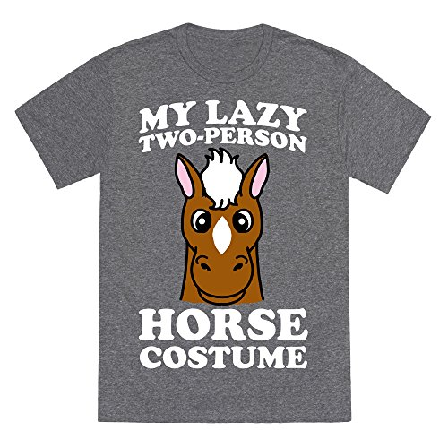 My Lazy Two-Person Horse Costume (head) Heathered Gray XL Mens/Unisex Fitted Triblend Tee by (Two Person Halloween Costumes Funny)