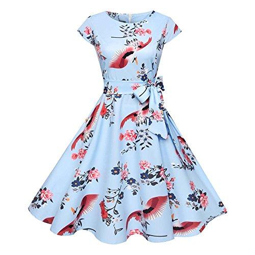 iLUGU O-Neck Short Sleeve Knee-Length Dress for Women Bow-Belt Crane Print A-Line Womens Dresses