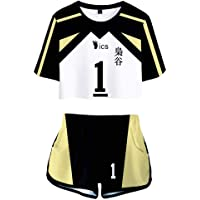 Flyself Haikyuu!!Unisex Crop Top and Shorts Set Haikyuu 3D Printed Tracksuits Casual Summer Sports Wear Two Pieces Set…