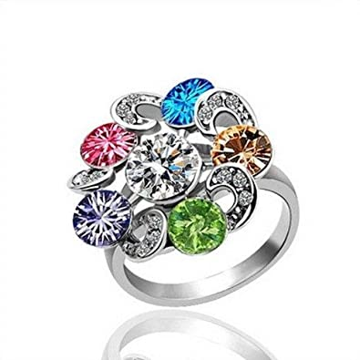 Crystal Enement Rings | White Gold Ring With Swarovski Crystal Element Of P L 18 K 750er