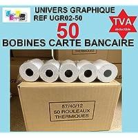 50 Bobine terminal carte bancaire papier thermique 57 x 40 x 12 m papier thermique pour CB 57 x 40 x 12 mm - Rouleaux machine carte TPE
