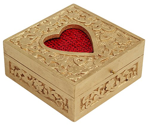 BIG SALE - Red Heart Box - Romantic Heart Shaped Red (Color of Love) Handmade in Wooden Carved Retro Handmade Ornate Keepsake Trinket Jewelry - Sunglasses India Best In
