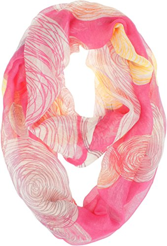 Vivian & Vincent Soft Light Weight Colorful Artistic Circles Print Sheer Infinity Scarf (Hot Pink)