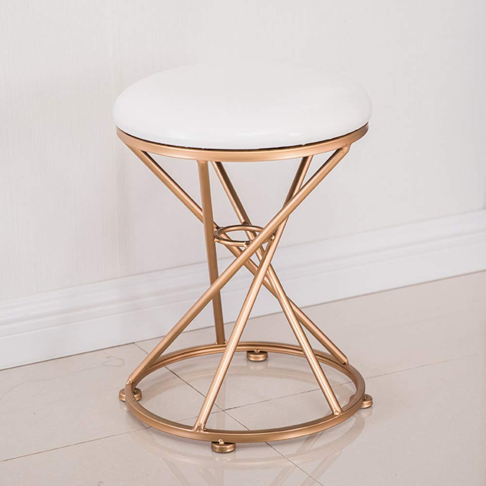 K 34x45cm(13x18inch) Round Metal Stool,Flannel Fabric Make up Stool,Modern upholstered Footstool for Home-A 34x45cm(13x18inch)
