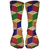 time machine rubik - Rubik's Cube Wallpaper Art Design Soccer 30CM Crew Socks
