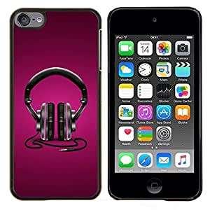 Caucho caso de Shell duro de la cubierta de accesorios de protección BY RAYDREAMMM - Apple iPod Touch 6 6th Touch6 - Auriculares púrpuras