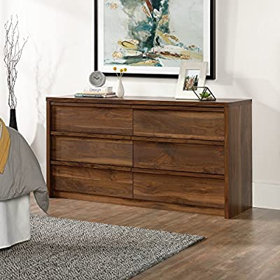 Sauder Harvey Park 6 Drawer Dresser - Dimensions: 60.71W x 17.48D x 31.06H in. Constructed from durable wood Rich grand walnut finish - dressers-bedroom-furniture, bedroom-furniture, bedroom - 51M88j3ozrL. SS400  -
