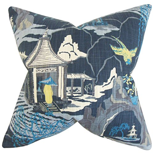 (The Pillow Collection Praxis Geometric Bedding Sham Blue European/26 x 26