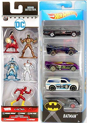 Batman Hot Wheels 5-pack TV Series Batmobile Joker Car / Gotham Police & Arkham Asylum + Nano Mini Metal Figures Wonder Woman, Cyborg, Flash, Parademon Exclusive characters collectible toy set
