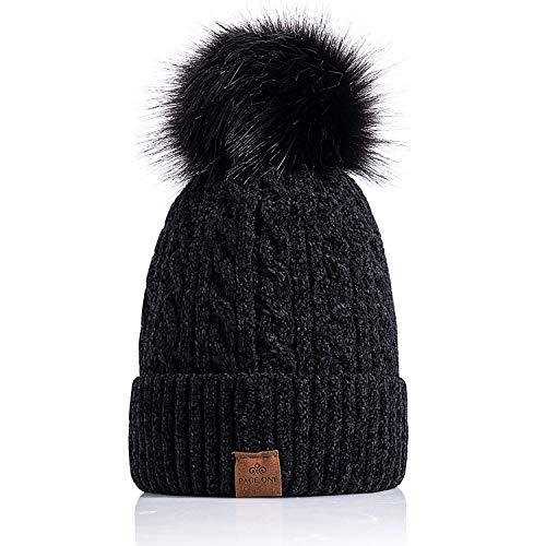 775cfdb569f PAGE ONE Women Winter Pom Pom Beanie Hats Warm Fleece Lined