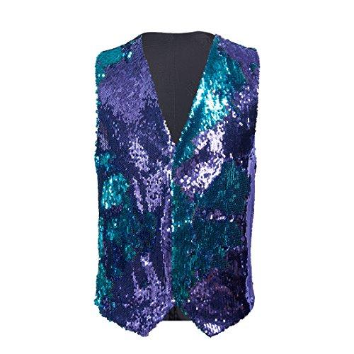 PYJTRL Mens Fashion Double-Sided Two Colors Sequins Waistcoat Vest (Blue + Purple, US 44R) -