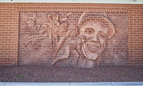 - 24 x 36 Giclee Print of Elaborate Brick Mural in Van Meter Iowa Celebrating The Career Cleveland Indians' Hall of Fame Baseball Pitcher Bob Feller at The Former Feller Museum Designed by his Archi