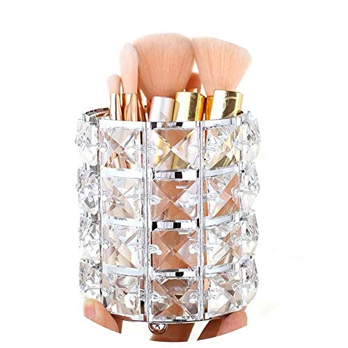 Pahdecor Handcrafted Crystal Rotating Makeup Brush Holder Eyebrow Pencil Pen Cup Collection Cosmetic Storage Organizer for Vanity,Bathroom,Bedroom,Office Desk (Silver) (Large Makeup Brush Cup)