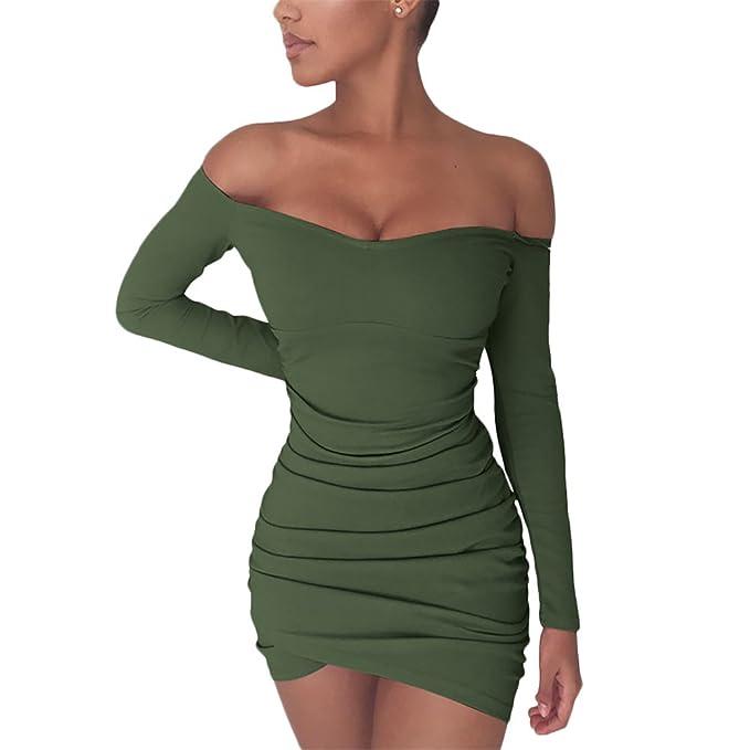 f4891602b0a Chemenwin Women's Sexy Off Shoulder Long Sleeve Club Bodycon Tight Short  Mini Tunic Dress Army Green