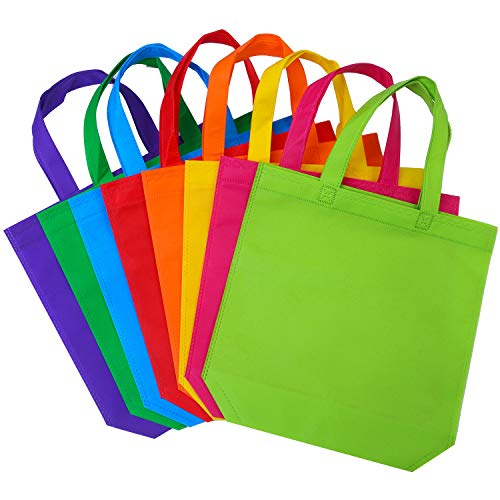 (Aneco 24 Pieces 11.5 by 11.5 Inches Non-Woven Bags Rainbow Colors Party Bags Treat Bag Goodie Bottom Non Woven Bag with Handles for Party Favor )
