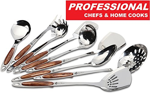 9 Piece Stainless Steel Kitchen Utensils Set - for Professionals Chef's & Home Cooks