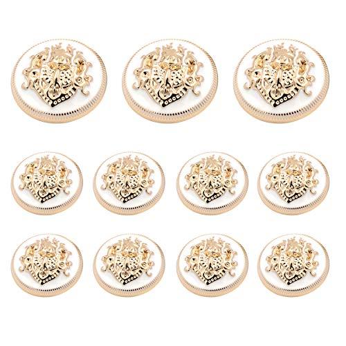 Grekywin Lion Button British Style Metal Buttons with Enamel Double Lion Buttons for Coat Blazer Suits Uniform Jacket etc (Gold + White)
