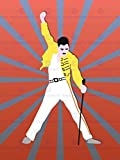 FREDDY MERCURY QUEEN ILLUSTRATION PICTURE ART PRINT POSTER MP5715A
