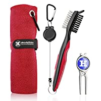 """Handy Picks Microfiber Golf Towel (16"""" X 16"""") with Carabiner, Club Brush, Golf Divot Repair Tool with Ball Marker - Golf Accessories, Ideal for Golfers - 3 in 1 Golf Cleaning Kit"""