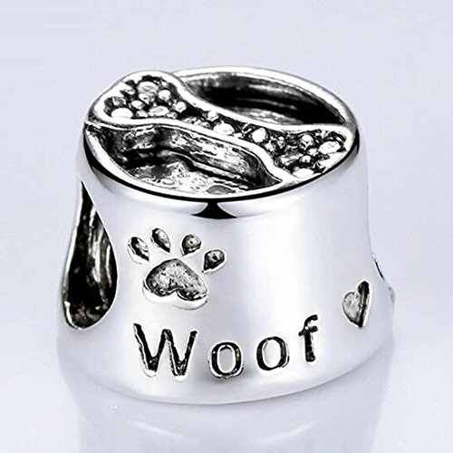 Eternalll Lovely Dog Charms and Lucky Cats Charms S925 Sterling Silver Bead Animal Pet Charm Murano Glass Beads Fit Pandora Bracelet Charms Bead (Love Bone Woof Paws)