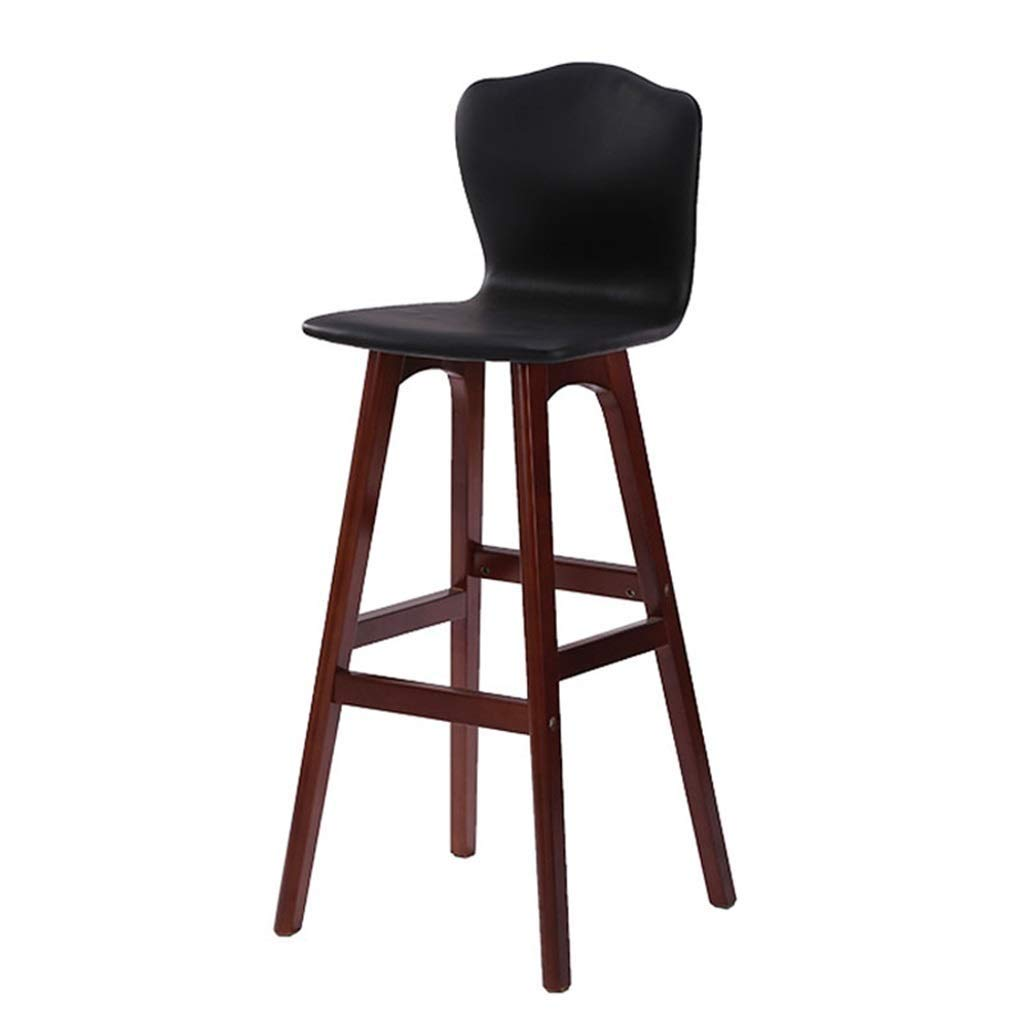 Black Home Furniture Bar Chair Modern Style Bar High Stool Counter Chair Kitchen Breakfast Barstool with Wooden Legs LEBAO (color   orange)