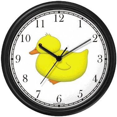 Yellow Duck or Ducky – Bird – JP Wall Clock by WatchBuddy Timepieces Hunter Green Frame