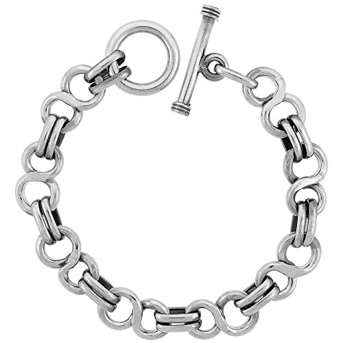 (Sterling Silver 'Figure 8' Link Bracelet Toggle Clasp Handmade, 1/2 inch wide, 9 inch)