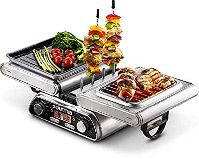 Gourmia GDG1900 Digital Dual Indoor Grill, Folds for Double Sided Steak Grilling, 10 in 1 Grill & Cook System, Expanded Accessory Kit Includes Grilling Basket, Kebab Rack & More, Free Recipe Book,110v