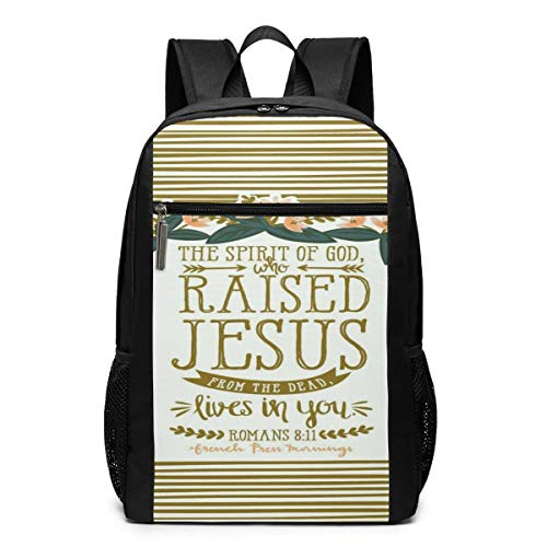 Christian Bible Verses Laptop Backpack for 15.6 Inch, School Computer Backpack Water Resistant Casual Daypack for Travel/Business/College/Men/Women Business Durable Laptops and Notebook -