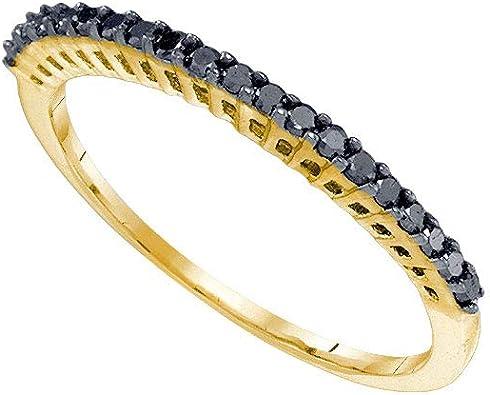 10k White Gold Womens Round Black Color Enhanced Diamond Single Row Band 1//4 Cttw