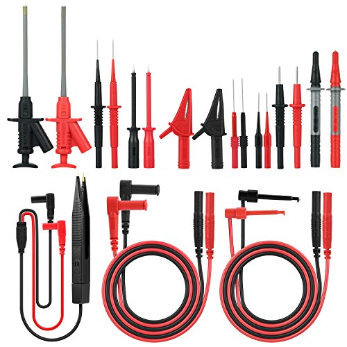 Meterk 21 in 1 Electronic Test Leads Kit, Digital Multimeter Leads with Alligator Clips Replaceable Probes Tips Accessories Kit for DMM Digital Multi Meter & Clamp Meters