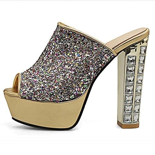 COOLCEPT Mujer Moda Peep Toe Pantufla Plataforma Tacon Ancho Zapatos 1508oro