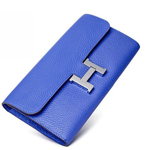 FBLUE Cowhide Women 's Long Wallet Envelope Package FB022 (Blue) by FBLUE (Image #1)