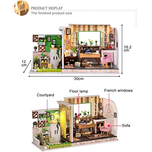 DIY Wooden Puzzle Dollhouse Miniatures LED House Furniture Kit Creative Room Educational Toy Brithday Gift Idea for Kids Boys Girls (A)