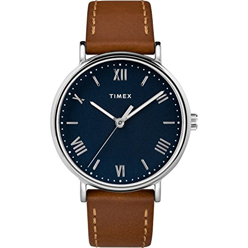 Timex Men's TW2R63900 Southview 41 Tan/Silver Tone/Blue Leather Strap Watch
