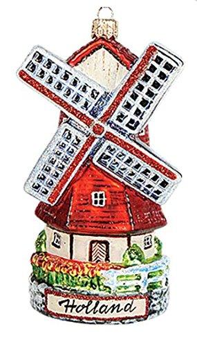 (Holland Dutch Windmill Polish Glass Christmas Ornament Travel Souvenir)
