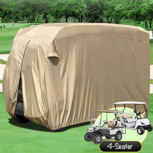 - North East Harbor Waterproof Superior Beige Golf Cart Cover Covers Club Car, EZGO, Yamaha, Fits Most Four-Person Golf Carts